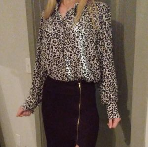 Loft Button Down Leopard Blouse